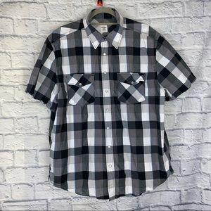 Old navy button down plaid shortsleeve shirt sz XL